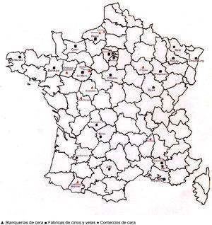 Industria y comercio de la cera en Francia hacia 1800. Fuente: Elaboración propia.