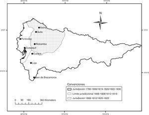 Jurisdicción de la Caja Real y Tesorería de Quito, 1780-1830. Elaboración propia a partir de Deler y Yépez (2007, p. 71), Demélas (2003, pp. 200, 277) y Varela Pereira (2013).