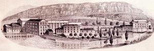 La colonia industrial La horadada en Mave (Palencia) en torno a 1880.