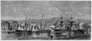 El puerto de Santander en torno a 1860.