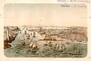 La bahía de La Habana en 1870.