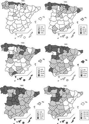 Average adjusted consumption by province: Spain, 1865–1981 (l/p/y).