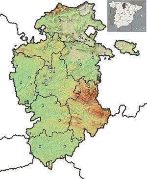 Mapa de ubicación de las 55 localidades de la muestra de mortalidad.