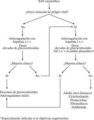 Algoritmo para el tratamiento del síndrome antifosfolipídico (SAF) catastrófico. GG: gammaglobulinas; i.v.: intravenosas.