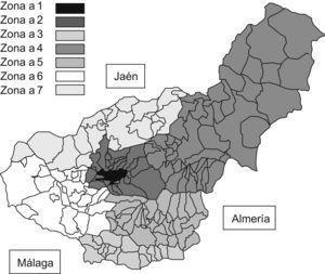 Sectorización de las zonas de estudio de la provincia de Granada.
