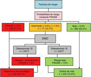 Aplicación de los umbrales de riesgo FRIDEX en nuestra muestra. DMO: densidad mineral ósea; FRIDEX: Factores de RIesgo y DEnsitometría por absorción dual de rayosX.