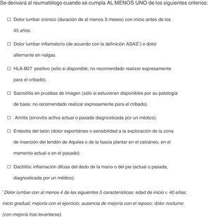 Criterios de cribado de SpA en pacientes con EII.