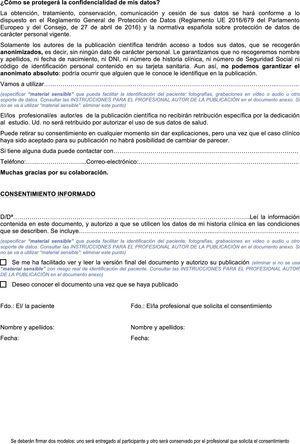 Solicitud de autorización para acceso y publicación de datos de salud como caso clínico/series de casos.