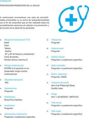 Checklist sobre prevención y promoción de la salud en pacientes con artritis reumatoide, espondiloartritis axial y artritis psoriásica.