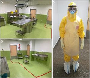 Autopsy room with dirty (a) and clean (b) areas delimited by a red line. (c) An examiner fully equipped with the PPE: disposable waterproof coverall, goggles, FFP3 mask covered with a surgical mask, nitrile gloves covered with cut-resistant gloves and protected with latex gloves and waterproof shoes covers. In addition, a plastic apron and a face shield, which can be quickly removed during disrobing, provide protection from splashes.