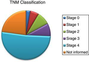 Staging of patients obtained by the TNM classification.
