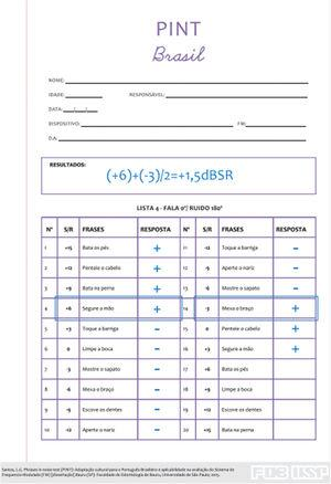 Answer sheet and score example for PINT Brazil. Source: Santos LG, Schafer EC, Thibodeau LM, Jacob RTS. The Brazilian Phrases in Noise Test (PINT Brazil). Journal of Educational, Pediatric and (Re)Habilitative Audiology (JEPRA). 2017;23:1-8. Reproduced with permission of the authors.