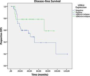 Kaplan–Meier plot for Disease-Free Survival (DFS) in LOXL4 positive and negative patients. The difference between LOXL4 positive and negative patients was not statistically significant (p= 0.104, Mantell-Cox log rank test).