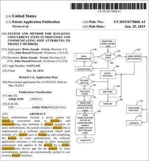 Front page of the original document filed for patent US2015178666 (A1).
