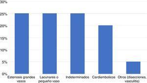 Distribución de los subtipos de accidente cerebrovascular isquémico según la clasificación TOAST3.
