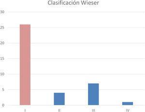Resultado a largo plazo. Clasificación de Wieser. Un 75% de los pacientes presentaron resultados de excelentes a buenos.
