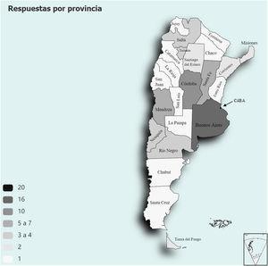 Cantidad de centros por provincia que respondieron la encuesta.