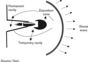 Behavior of bullet in cavity. Source: Own.
