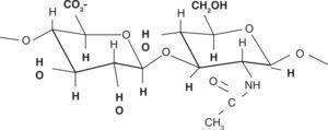 Estructura de la molécula del ácido hialurónico. Fuente Directa.