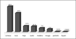 Riqueza porcentual de especies de líquenes por sustrato en México.