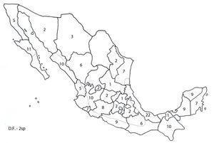 Riqueza específica del phylum Acanthocephala en vertebrados silvestres por estado de la República Mexicana.