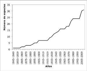 Curva acumulativa de especies de euhirudíneos por año de registro (en intervalos de 5 años).