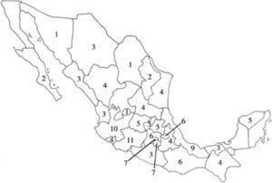 Riqueza específica de euhirudíneos por estado de la República Mexicana.