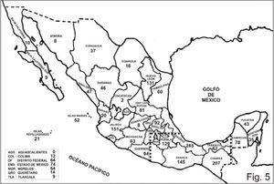Número de especies de Psocoptera en cada estado de México y en las islas Marías y Revillagigedo.