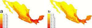 Distribución potencial de la riqueza de especies de aves de México, con base en los mapas de Navarro y Peterson (2007). a), riqueza total; b), riqueza de especies residentes. Ambos mapas se presentan bajo el mapa digital de provincias biogeográficas de Conabio (1997).
