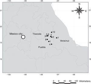 Map of localities in the Oriental Basin in Central Mexico. 1, Chalchicomula de Serna, 3km S Cd. Serdán entronque Cd. Serdán – Esperanza, Dirección Santa Catarina; 2, Guadalupe Victoria, 2km W Guadalupe Victoria; 3, Guadalupe Victoria, 9.6km W Guadalupe Victoria; 4, La Esperanza, 2km W La Esperanza; 5, Oriental, 1km S Oriental; 6, Oriental, 1.5km S Oriental; 7, Quimixtlan, 10km NE Huaxcaleca; 8, San Salvador El Seco, 1km S Coyotepec; 9, El Carmen Tequexquitla, 2.5km El Carmen; 10, Perote, 3km S El Frijol Colorado.