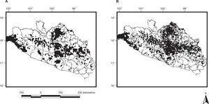 Áreas de conservación seleccionadas en Guerrero sin considerar pérdida de hábitat natural (A) y áreas de conservación seleccionadas considerando pérdida de hábitat natural (B).