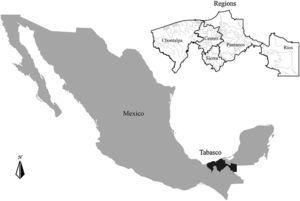 Map of Tabasco and its 5 regions.