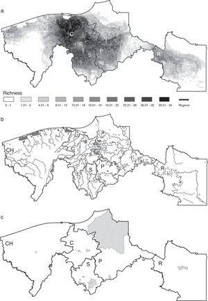 (a) Ecological niche model-based distributional predictions for all species, (b) water bodies, (c) map of natural protected areas. The 5 regions are indicated in each map, CH: Chontalpa; C: Centro; S: Sierra; P: Pantanos; R: Ríos.