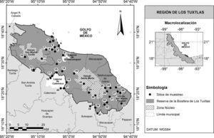 Localidades de los sitios de muestreo dentro la Reserva de Biosfera Los Tuxtlas. Los nombres de las localidades y las coordenadas geográficas de los sitios están disponibles en la tabla 1.