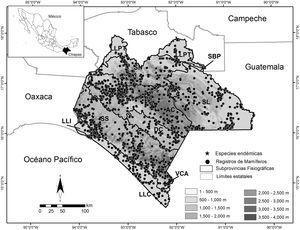 Localización de los mamíferos terrestres registrados en el estado de Chiapas, por subprovincia fisiográfica y altitud.AC: Altos de Chiapas; DC: Depresión Central de Chiapas; LLC: Llanura Costera de Chiapas y Guatemala; LLI: Llanura del Istmo; LLPT: Llanura y Pantanos Tabasqueños; SBP: Sierras Bajas del Petén; SL: Sierra Lacandona; SN: Sierras del Norte de Chiapas; SS: Sierras del Sur de Chiapas; VCA: Volcanes de Centroamérica.