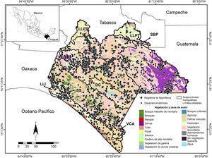 Localización de los mamíferos terrestres registrados en el estado de Chiapas, por subprovincia fisiográfica (ver nombres y acrónimos en la fig. 2) y uso de suelo y vegetación.AG: agrícola; AH: asentamientos humanos; BM: bosque mesófilo de montaña; BQ: bosques (pino, encino, cedro, oyamel y sus asociaciones); CA: cuerpos de agua; MG: manglar; PM: praderas de montaña; PZ: pastizales; SA: sabana; SE: selvas (altas, medianas y bajas, perennifolias, subperennifolias, caducifolias); SV: sin vegetación aparente; TU: tulares; VG: vegetación de galería; VS: vegetación secundaria.