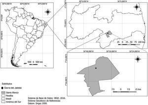 Ubicación del afloramiento rocoso Sierra del Jatobá, municipio de Serra Branca, Estado de Paraíba, Brasil. Mapa elaborado por E.M. Rodrigues.