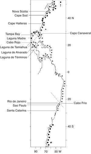 Grouping of the warmer (+) and colder (●) regions along the Western Atlantic based on the geographic points recorded for the 29 amphipod species of Laguna Madre, Tamaulipas and Laguna de Tamiahua, Veracruz, Mexico. The 2 slotted lines represent the zoogeographic boundaries that separate the warmer tropical regions from the colder Temperate regions along the Western Atlantic. The northern boundary spans along an imaginary line from Cabo Rojo in Veracruz to Tampa Bay and Cape Canaveral in Florida, and the southern boundary lies at Cabo Frío in Brazil.