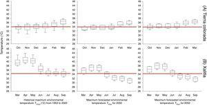 Historic mean monthly maximum environmental temperatures available in the localities inhabit by Sceloporus stejnegeri in Tierra Colorada (A) and S. horridus in Xalitla (B), in their respective reproductive season months from 1953 to 2000 and forecasts for 2030 and 2050. The red line shows the critical thermal maximum for developing embryos.