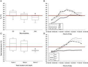 (A) Operative temperatures (Te) measured at complete sun (CS), filtered sun (FS) and deep shade (Dsh) microhabitats; (B) current air (Tcenv) and microhabitats temperature variation through the day at each microhabitat used by pregnant Sceloporus stejnegeri lizards at Tierra Colorada, Guerrero; (C) representative temperatures at different soil depths in full sun and shade conditions, and (D) current air temperature (Tcenv) and nest variation through the day for Sceloporus horridus lizards in Xalitla, Guerrero. The red line is the critical thermal maximum to development embryos of both Sceloporus lizards' species (34°C). Asterisk denotes significance at p<0.05 level.