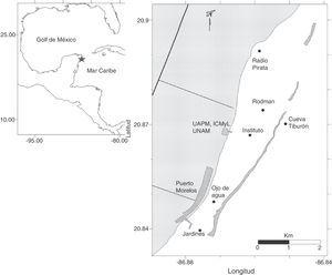 Parque Nacional Arrecife Puerto Morelos, Quintana Roo, México. Se indican los sitios de muestreo con círculos. Modificado de Edgar Escalante y Francisco Ruíz (ICMyL, UAPM).