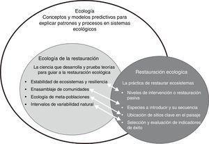 Relación entre la ecología, la ecología de la restauración y la práctica de la restauración ecológica. Modificado de Palmer (2009).