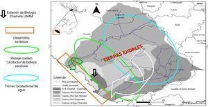 Ubicación de la región de estudio en la costa sur de Jalisco perteneciente al municipio La Huerta. Se señala (con una flecha) el polígono de la Estación de Biología Chamela de la UNAM (parte de la Reserva de la Biosfera [RB] Chamela-Cuixmala), dentro del contexto de 3 cuencas hidrográficas (de los ríos San Nicolás, Cuitzmala y Purificación). Se señala, asimismo, la zona donde se ubican los hoteles existentes y los proyectos turísticos en construcción. Se resalta las zonas que proveen el paisaje que disfrutan los visitantes, así como la región que comprende las partes medias y altas de las cuencas y que por contar con porcentajes altos de vegetación (entre 50 y 80% de los terrenos ejidales) es posible disponer de agua en los pozos en las partes bajas. Estos servicios brindados por las tierras ejidales no se reconocen y tampoco existen remuneración alguna. Figura realizada por Marcela Pérez.