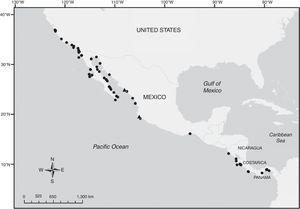 Map displaying records of Branchiostoma californiense based on previously known material (black circles) and the present study material (black triangles).