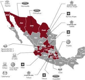 Distribución Geográfica De Las Plantas Armadoras en México