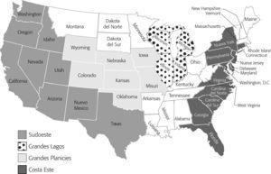 Regiones de Destino de la Bigración a Estados Unidos