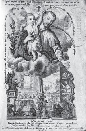Grabado de la Ortografía de Neve y Molina. Acervo: Biblioteca del inah.