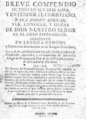 Portada del Breve compendio de Ramírez (México, Herederos de José de Jáuregui, 1785). Acervo: Biblioteca Nacional de México.