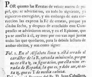 Comentario sobre las letras equivocadas en la fe de erratas del Breve compendio de Ramírez.