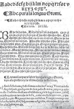 Primera página del alfabeto de la Doctrina cristiana en castellano, mexicano y otomí